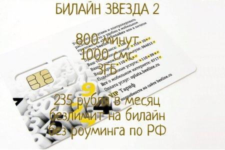 Билайн ЗВЕЗДА 2 за 235 руб./мес.